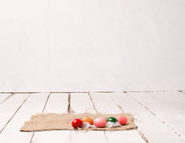 Easter eggs on wooden floor Royalty Free Stock Photography