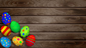 Easter eggs on wooden planks Stock Photos