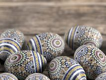 Easter eggs on wooden rustic table stock image