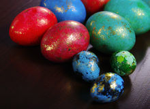Easter Eggs. In a wooden surface Stock Photography