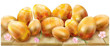 Easter eggs on a wooden surface Royalty Free Stock Photos