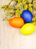 Easter eggs on a wooden surface Stock Image
