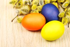 Easter eggs on a wooden surface Stock Photography