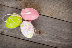 Easter eggs on wooden table background Stock Photography