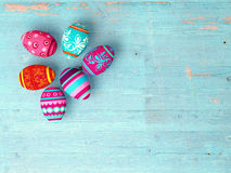 Easter eggs on wooden table background Royalty Free Stock Images