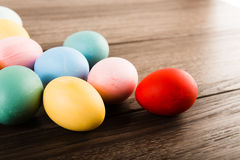 Easter eggs on wooden table background Royalty Free Stock Photo