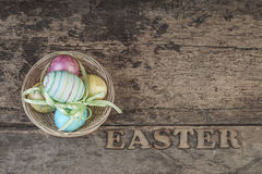 Easter eggs on wooden table Royalty Free Stock Image