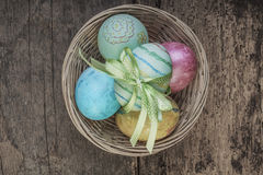 Easter eggs on wooden table Royalty Free Stock Images