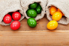 Easter eggs on wooden table Royalty Free Stock Photo