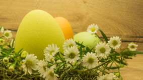 Easter eggs on wooden table Stock Photography