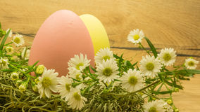 Easter eggs on wooden table Stock Image