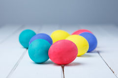 Easter eggs on the wooden table. Happy Easter!!! close up royalty free stock image