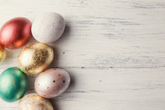 Easter eggs on wooden table Royalty Free Stock Photography