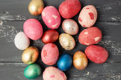 Easter eggs on wooden table. Stock Photography