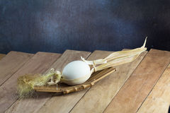 Easter eggs on the wooden table Royalty Free Stock Photography