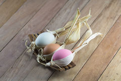 Easter eggs on the wooden table Royalty Free Stock Image