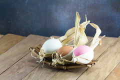 Easter eggs on the wooden table Stock Photo