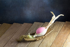 Easter eggs on the wooden table Royalty Free Stock Images