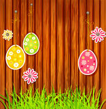 Easter eggs on a wooden wall background. The  Easter eggs and wooden wall and nails Stock Photography