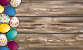 Easter Eggs Worn Wood. Easter eggs on the wooden background vector illustration