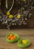 Easter eggs. Wreath with chickens Royalty Free Stock Photos
