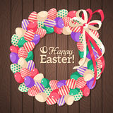 Easter eggs wreath in flat rustic style. With place for your text. Vector illustration. Cute Ribbon Bow. Easter template design, greeting card. Wooden Dark vector illustration