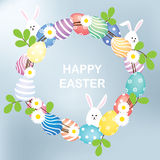 Easter eggs wreath. Easter pastel eggs wreath with little bunnies Royalty Free Stock Image