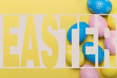 easter eggs on yellow background with space. Concept vector illustration