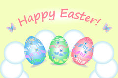Easter eggs on a yellow background Royalty Free Stock Photo