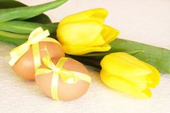 Easter Eggs in Yellow on Bagging Stock Photo