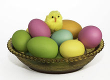 Easter Eggs and Yellow Chick Royalty Free Stock Photo
