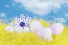 Easter eggs on grass. Easter eggs on yellow grass Stock Photos