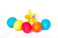 Easter eggs and yellow paper flower Stock Photography