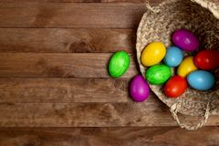 Easter eggs yellow, pink, green, blue and orange stock photo