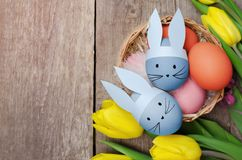 Easter eggs and yellow tulips on wooden background.  Stock Image