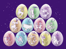 Easter eggs with Zodiac signs Royalty Free Stock Photos