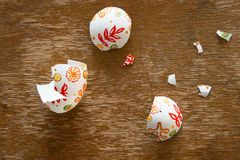 Easter eggshell. On wooden background Stock Photography