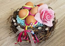 Easter eggsin nest. Stock Photo