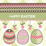 Easter egs. Easter card with egs, flowers and textures Stock Image