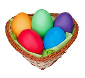 Easter egss in a basket Stock Photography