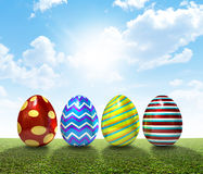 Easter Egss On Lawn Stock Photo