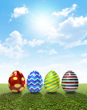 Easter Egss On Lawn Royalty Free Stock Photos