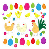 Easter elements as doodles of chickens Royalty Free Stock Photography