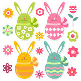 Easter elements set. Bunnies and flowers Stock Images