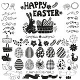 Easter elements set.Black Silhouette Royalty Free Stock Images
