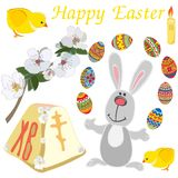 Easter elements set: cute rabbit, chicken, tender blooming branch, candle, painted eggs isolated on white background stock illustration