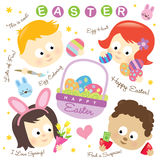 Easter Elements W/ Kids Stock Photo