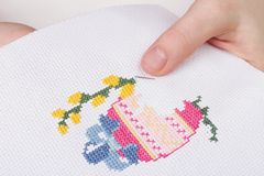Easter embroidery royalty free stock photography