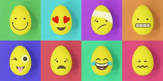 Easter emoji eggs on a colourful background of squares royalty free illustration