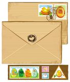 Easter envelope and stamps Stock Photos